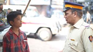 Boy and policeman