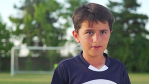 Boy on soccer field