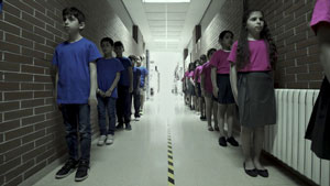 Children in a school hallway