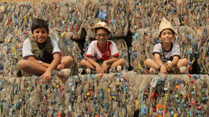 Boys and recycled bottles